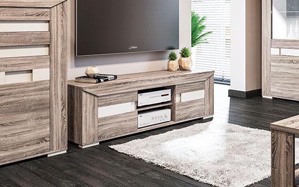 lowboard tv board 155cm eiche sonoma tr ffel champagner metallisch 65264 ebay. Black Bedroom Furniture Sets. Home Design Ideas