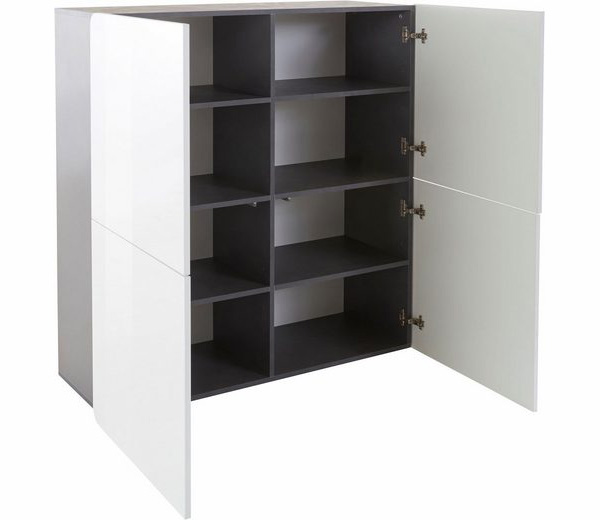 highboard anrichte kommode zement wei hochglanz 120cm 136153 highboards wohnzimmer. Black Bedroom Furniture Sets. Home Design Ideas