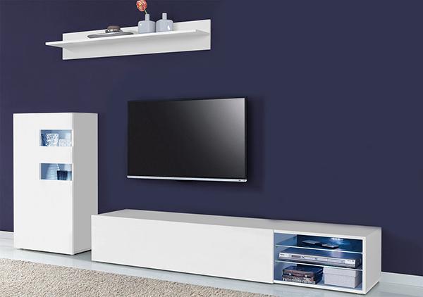 wohnwand anbauwand mediawand wei hochglanz lackiert 235cm 375954 13633 ebay. Black Bedroom Furniture Sets. Home Design Ideas