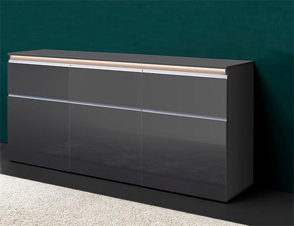 sideboard kommode anrichte 180cm anthrazit hochglanz lackiert 428807 13639 ebay. Black Bedroom Furniture Sets. Home Design Ideas