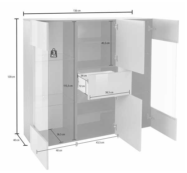 highboard kommode anrichte 136cm buche dunkel sand hochglanz neu highboards wohnzimmer. Black Bedroom Furniture Sets. Home Design Ideas