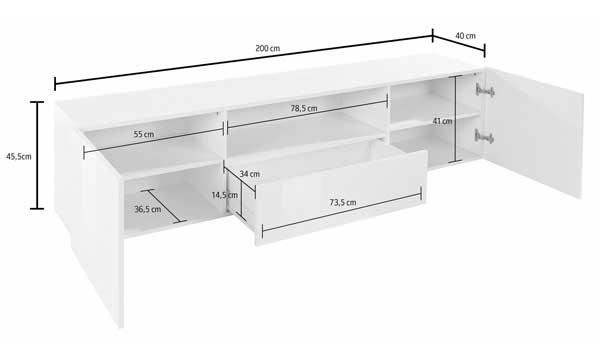 lowboard tv schrank fernsehtisch sand hochglanz buche dunkel 200cm 762077 ebay. Black Bedroom Furniture Sets. Home Design Ideas