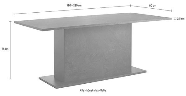 s ulentisch esstisch wei hochglanz schiefer 180 230x90cm 612018 13647 ebay. Black Bedroom Furniture Sets. Home Design Ideas