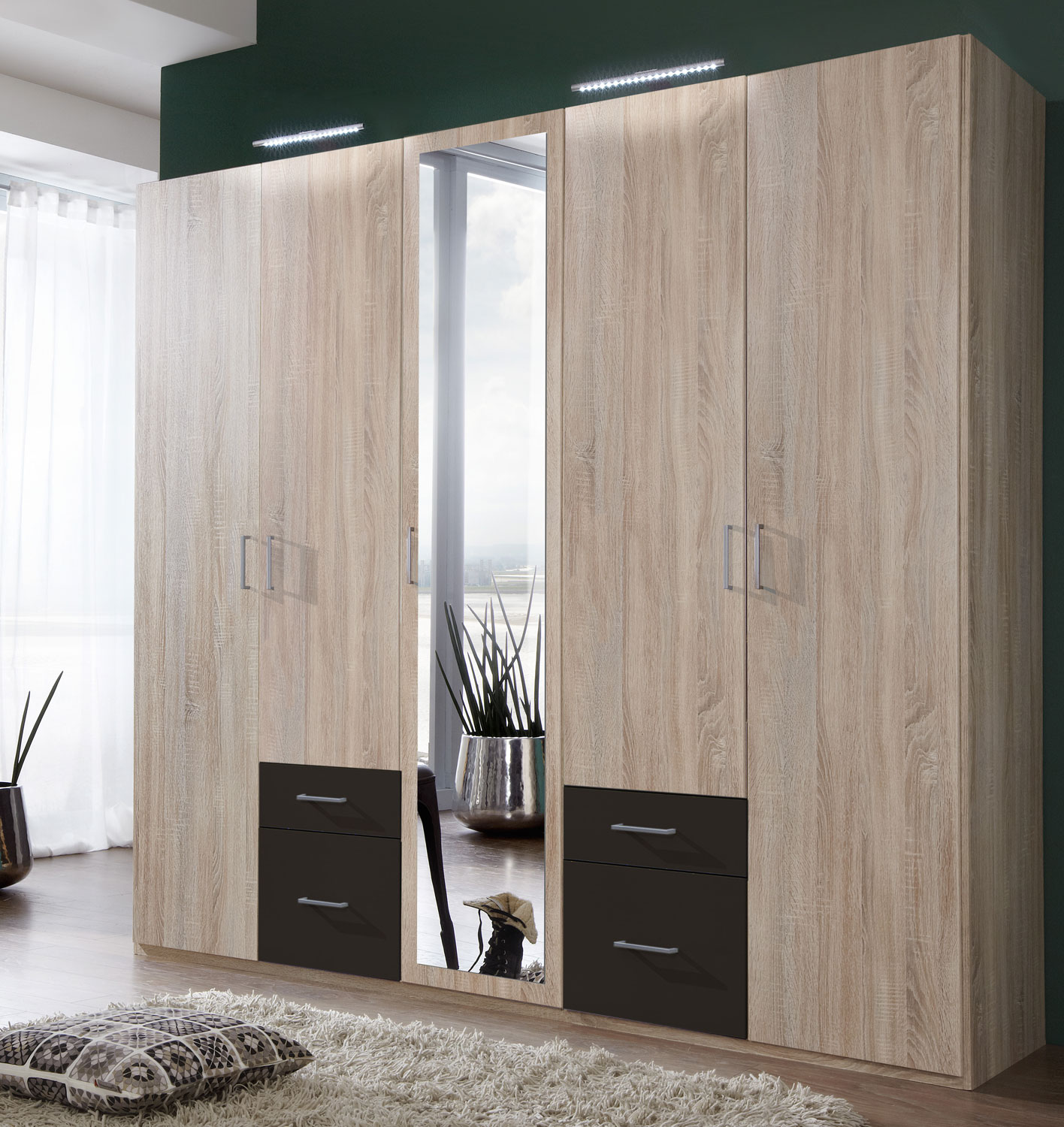 wimex kleiderschrank schrank eiche s gerau graphit 225cm 879120 13764 ebay. Black Bedroom Furniture Sets. Home Design Ideas