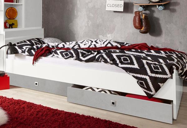 wimex jugendzimmer bettgestell doppelbett joker 140x200cm wei beton 895464 ebay. Black Bedroom Furniture Sets. Home Design Ideas