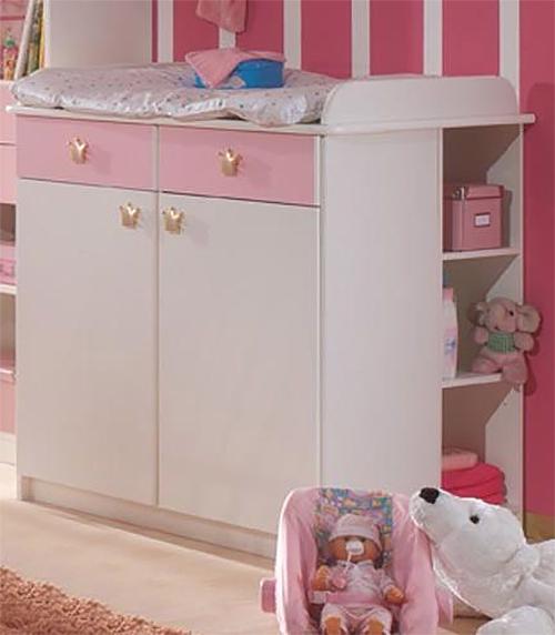 Cindy Babyzimmer Kinderzimmer Cinderella 2 Teilig Weiss Rosa Neu