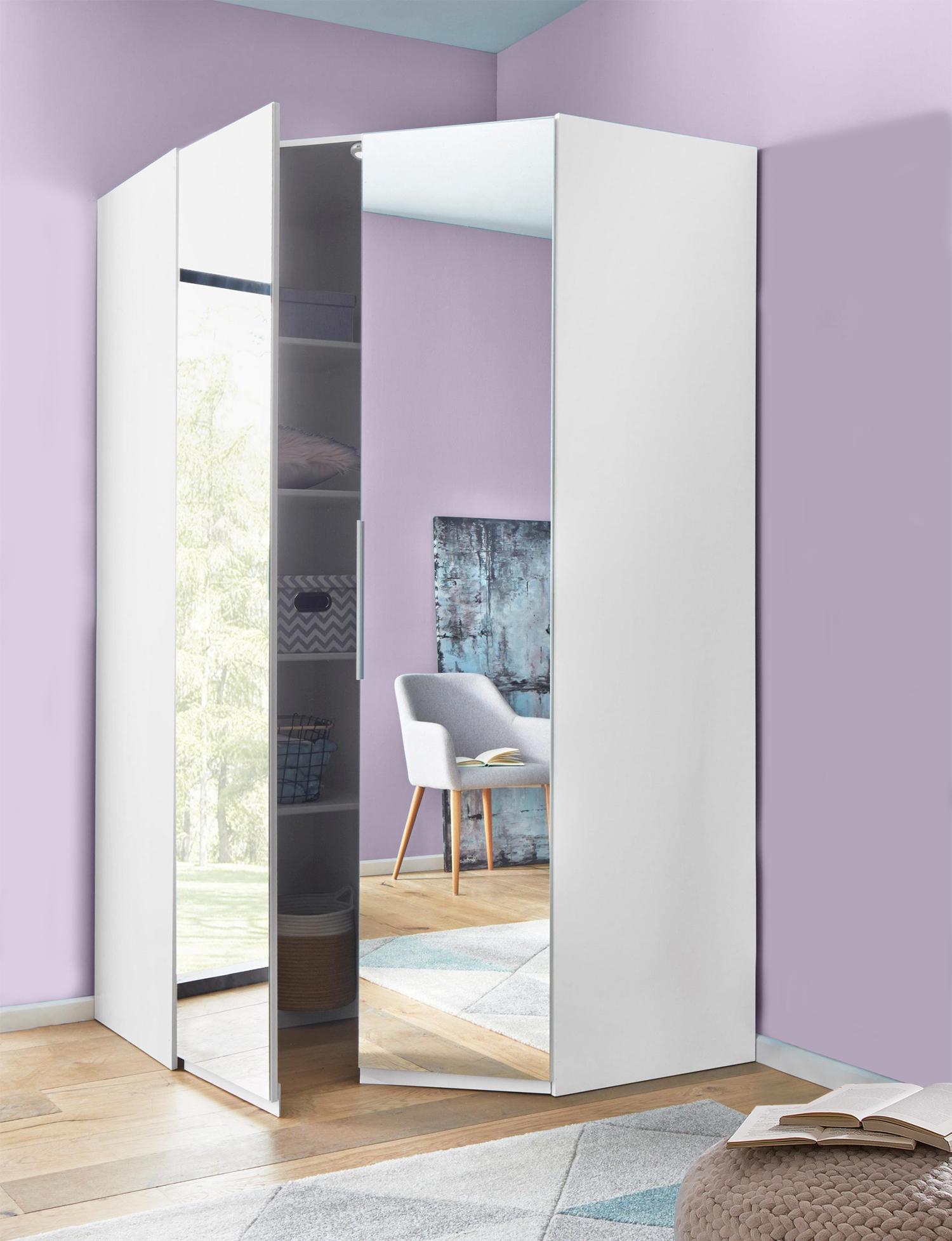 Wimex Eckschrank Kleiderschrank Level 120x120cm weiß Spiegel