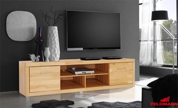 Lowboard Tv Element Mit 2 Klappen Kernbuche Teilmassiv 200cm Neu