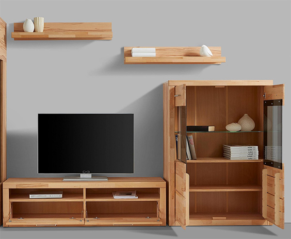 wohnwand anbauwand mediawand wohnzimmer 4 teilig kernbuche teilmassiv 58695610 ebay. Black Bedroom Furniture Sets. Home Design Ideas
