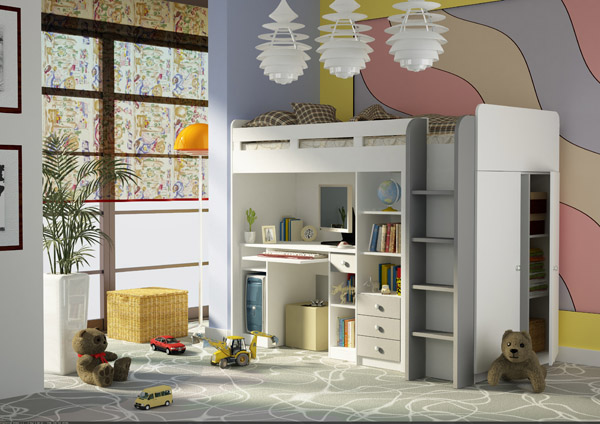 kombination komplett kinderzimmer bett schreibtisch. Black Bedroom Furniture Sets. Home Design Ideas