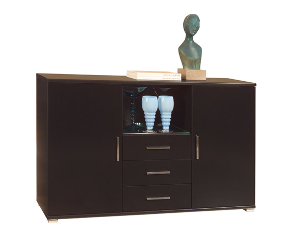 sideboard anrichte schrank kommode mit led beleuchtung schwarz hochglanz neu ebay. Black Bedroom Furniture Sets. Home Design Ideas