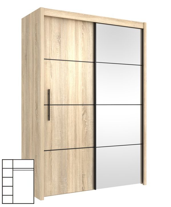 Schwebetürenschrank spiegel eiche  Schwebetürenschrank Kleiderschrank mit Spiegel 150cm sonoma eiche ...