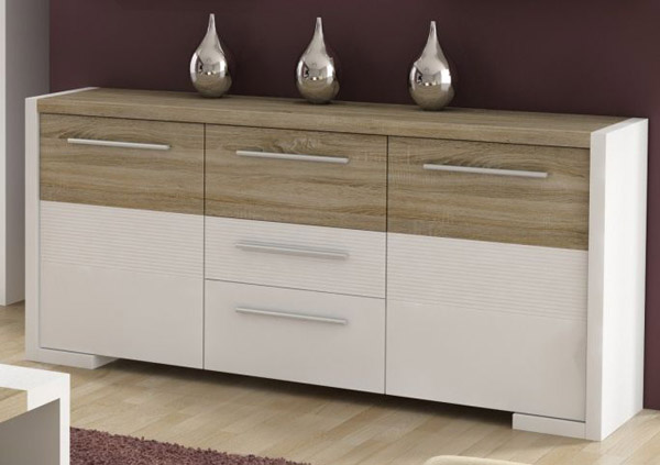 kommode anrichte schrank sideboard weiss gl nzend sonoma eiche neu ebay. Black Bedroom Furniture Sets. Home Design Ideas