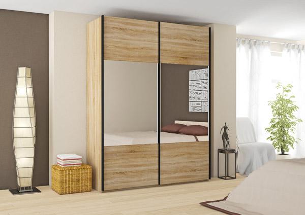 kleiderschrank schwebet renschrank schlafzimmer mit spiegel sonoma eiche neu ebay. Black Bedroom Furniture Sets. Home Design Ideas