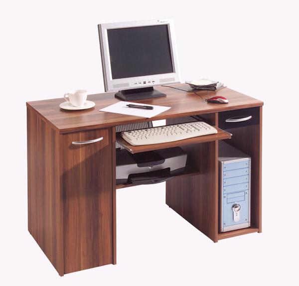 schreibtisch pc tisch computertisch kernnussbaum schwarz. Black Bedroom Furniture Sets. Home Design Ideas
