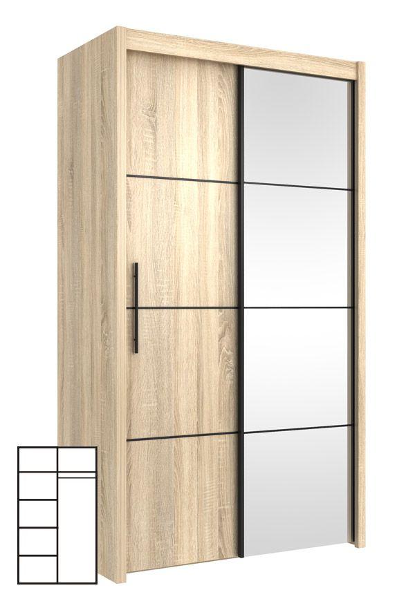 Schwebetürenschrank spiegel eiche  Schwebetürenschrank Kleiderschrank mit Spiegel 120cm sonoma eiche ...