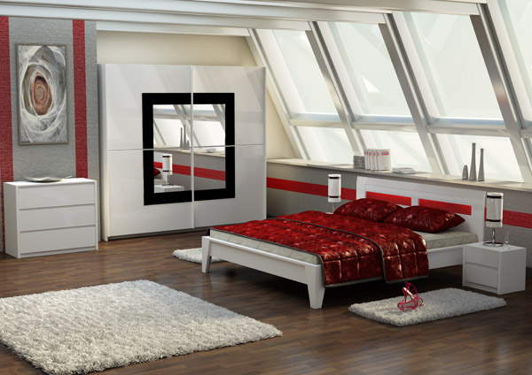 bett doppelbett ehebett weiss gl nzend mit led beleuchtung 160x200 neu. Black Bedroom Furniture Sets. Home Design Ideas