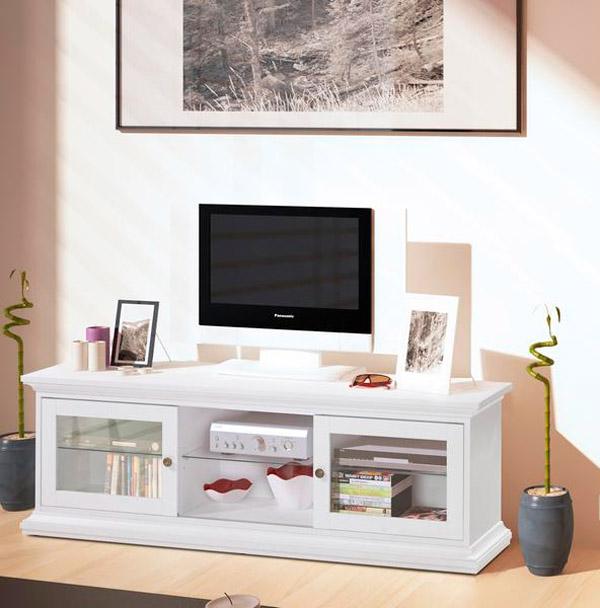 tv lowboard tv regal tv schrank mit glasturen weiss neu  ebay ~ Schrank Um Tv Zu Verstecken