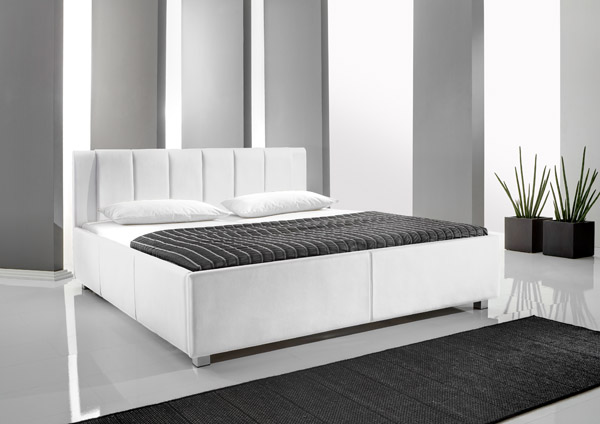 bett polsterbett doppelbett ehebett leder optik 160x200 456 20 4 weiss neu ebay. Black Bedroom Furniture Sets. Home Design Ideas