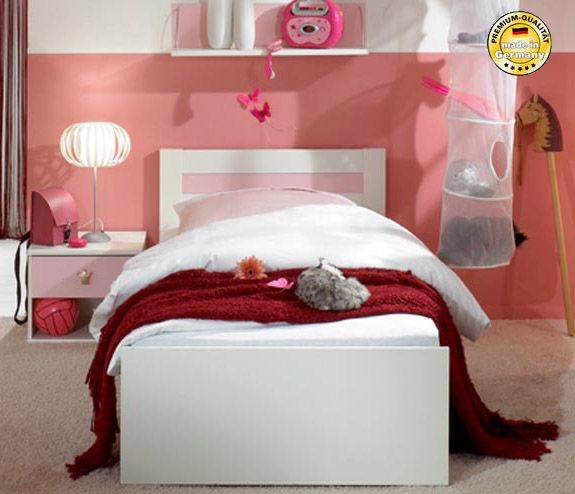 schubkastenbett kinderbett bett cindy 90x200cm mit schubladen wei rosa betten kinder. Black Bedroom Furniture Sets. Home Design Ideas
