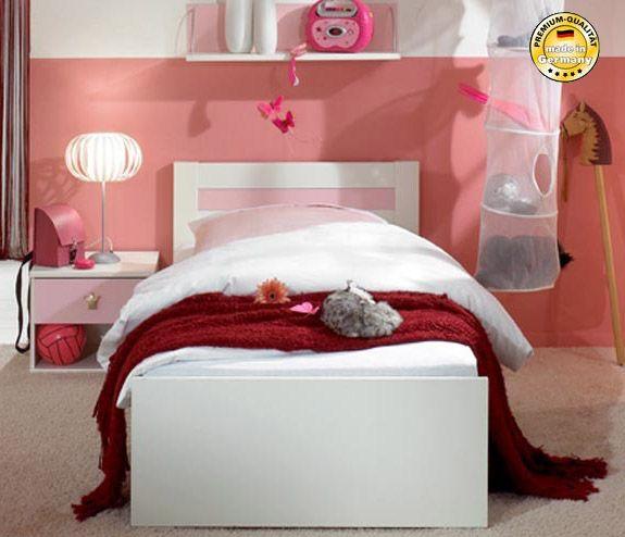 schubkastenbett kinderbett bett cindy 90x200cm mit schubladen wei rosa betten kinder. Black Bedroom Furniture Sets. Home Design Ideas
