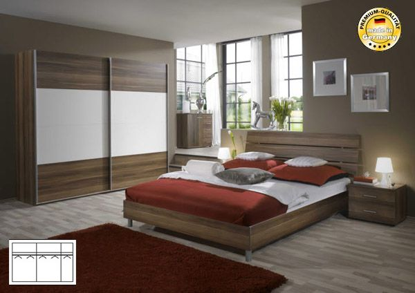 schlafzimmer komplett schwebeturenschrank bett 160x200 nussbaum weiss neu ebay. Black Bedroom Furniture Sets. Home Design Ideas