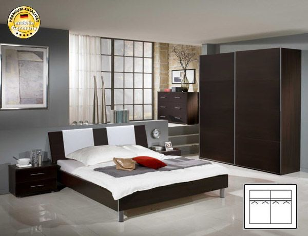 schlafzimmer komplett mit schwebeturenschrank bett 160x200 milano wenge neu ebay. Black Bedroom Furniture Sets. Home Design Ideas