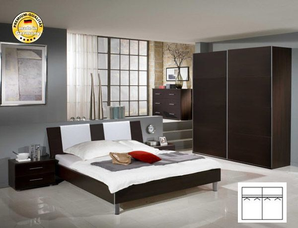 schlafzimmer komplett mit bett 140x200 schwebet renschrank. Black Bedroom Furniture Sets. Home Design Ideas