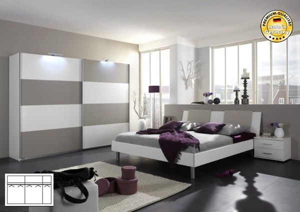 schlafzimmer komplett mit schwebet renschrank bett 140x200 weiss sandgrau neu ebay. Black Bedroom Furniture Sets. Home Design Ideas