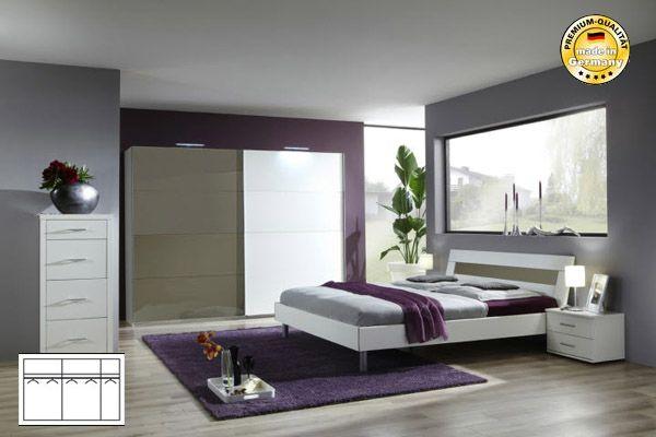 Schrank Weiß Modern : Komplett Schlafzimmer weiß sahara grau Schwebetürenschrank 313cm