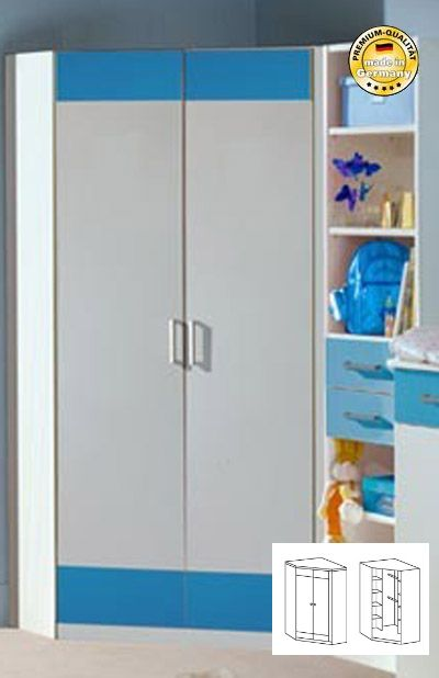 eckkleiderschrank schrank kinderzimmer jugendzimmer weiss blau neu ebay. Black Bedroom Furniture Sets. Home Design Ideas