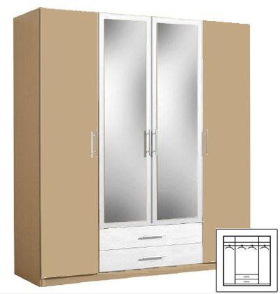 kleiderschrank schlafzimmerschrank 180cm 4 t rig canyon buche alpinwei mit spiegel neu. Black Bedroom Furniture Sets. Home Design Ideas