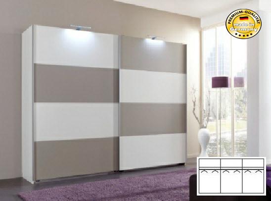 schwebet renschrank schlafzimmerschrank 270cm alpinwei glas sahara grau neu feldmann wohnen gmbh. Black Bedroom Furniture Sets. Home Design Ideas