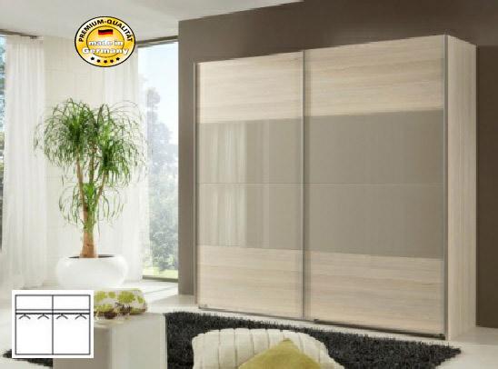 schwebet renschrank schlafzimmerschrank 225cm strukturesche sahara grau glas neu. Black Bedroom Furniture Sets. Home Design Ideas