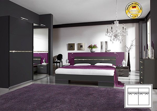 schlafzimmer komplett mit schwebet renschrank bett 160x200 lava strass neu ebay. Black Bedroom Furniture Sets. Home Design Ideas