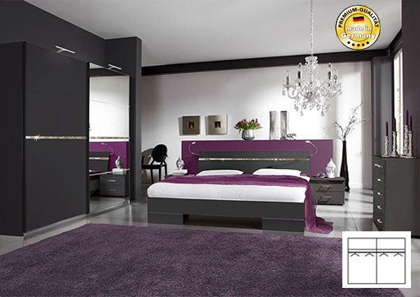 schlafzimmer komplett mit bett 160x200 schwebet renschrank lava strass neu ebay. Black Bedroom Furniture Sets. Home Design Ideas