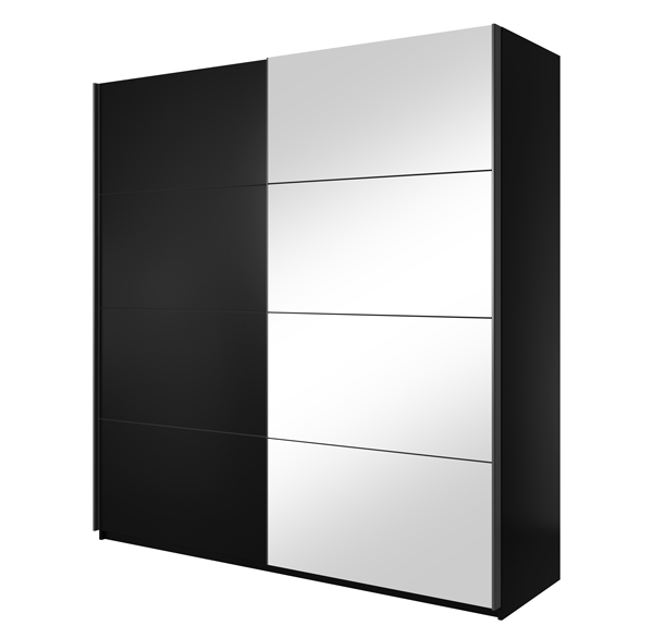 Kleiderschrank Schlafzimmerschrank Spiegel schwarz - Breite wählbar ...