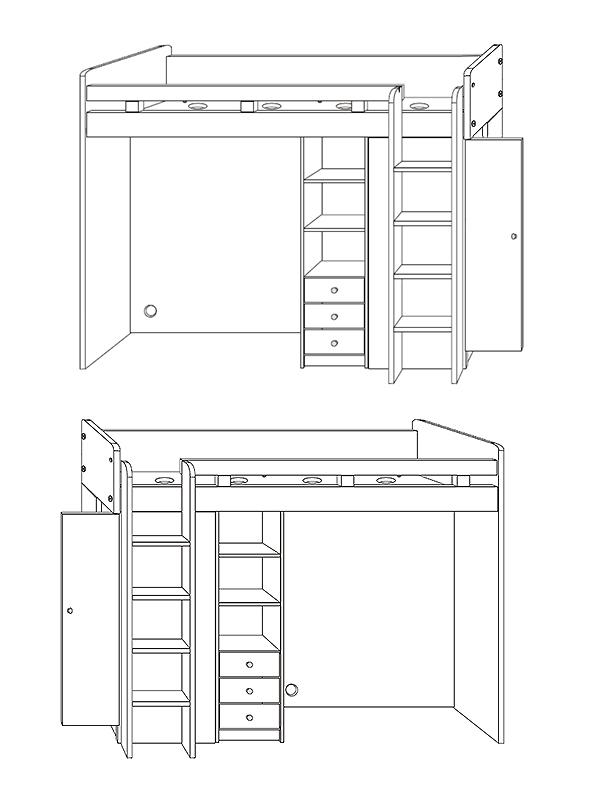 Hochbett etagenbett mit kleiderschrank und schreibtisch for Jugendzimmer betten shop