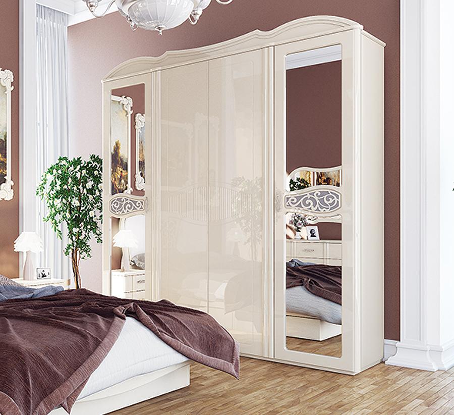 kleiderschrank schrank spiegel schlafzimmerschrank 206cm creme creme hochglanz. Black Bedroom Furniture Sets. Home Design Ideas