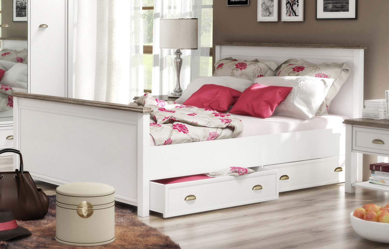 bett bettgestell holzbett futonbett chateau 140x200cm wei eiche sanremo neu holzbetten. Black Bedroom Furniture Sets. Home Design Ideas