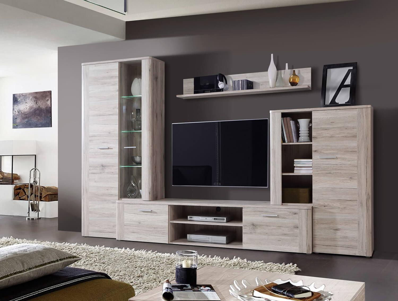 Wohnwand Anbauwand mit TV Lowboard 8-teilig inkl. Beleuchtung sandeiche Neu