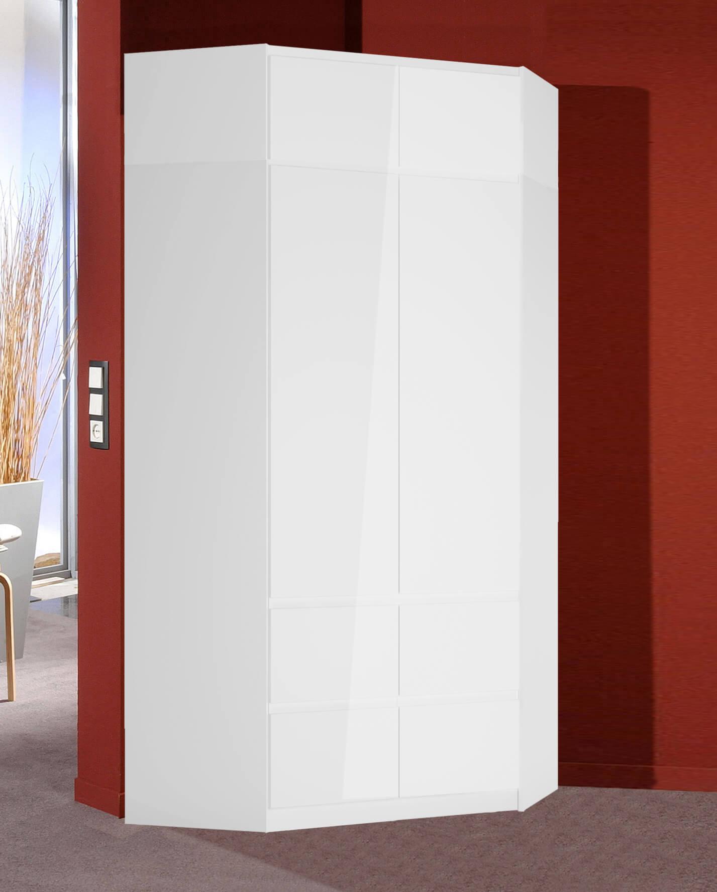 Eck Kleiderschrank Schlafzimmerschrank Aufsatz 121x121cm Weiss Matt Weiss Hochglanz Kleiderschranke Schlafzimmer Feldmann Wohnen Gmbh Online Shop