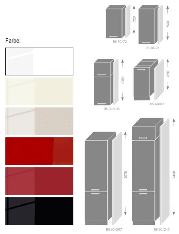 Platinum BS Rahmen Küche BS - Farbe & Größe wählbar #dv16