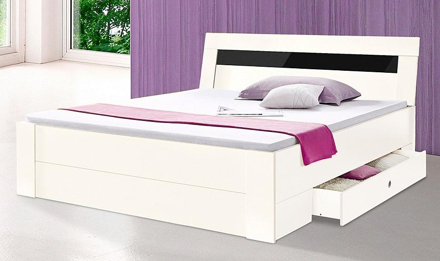 Funktionsbett 140x200  Funktionsbett Bett mit 2 Schubkästen weiß / Grauglas 140 x 200 cm ...