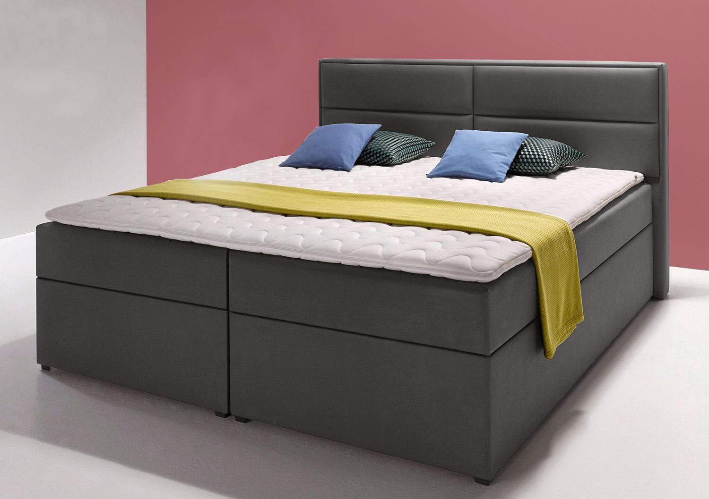 boxspringbett polsterbett 180x200cm anthrazit kunstleder. Black Bedroom Furniture Sets. Home Design Ideas