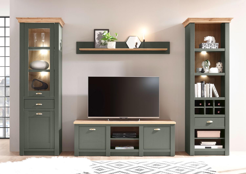 Wohnwand Cambridge 9cm grün wotan eiche Anbauwand Wohnzimmer Schrankwand