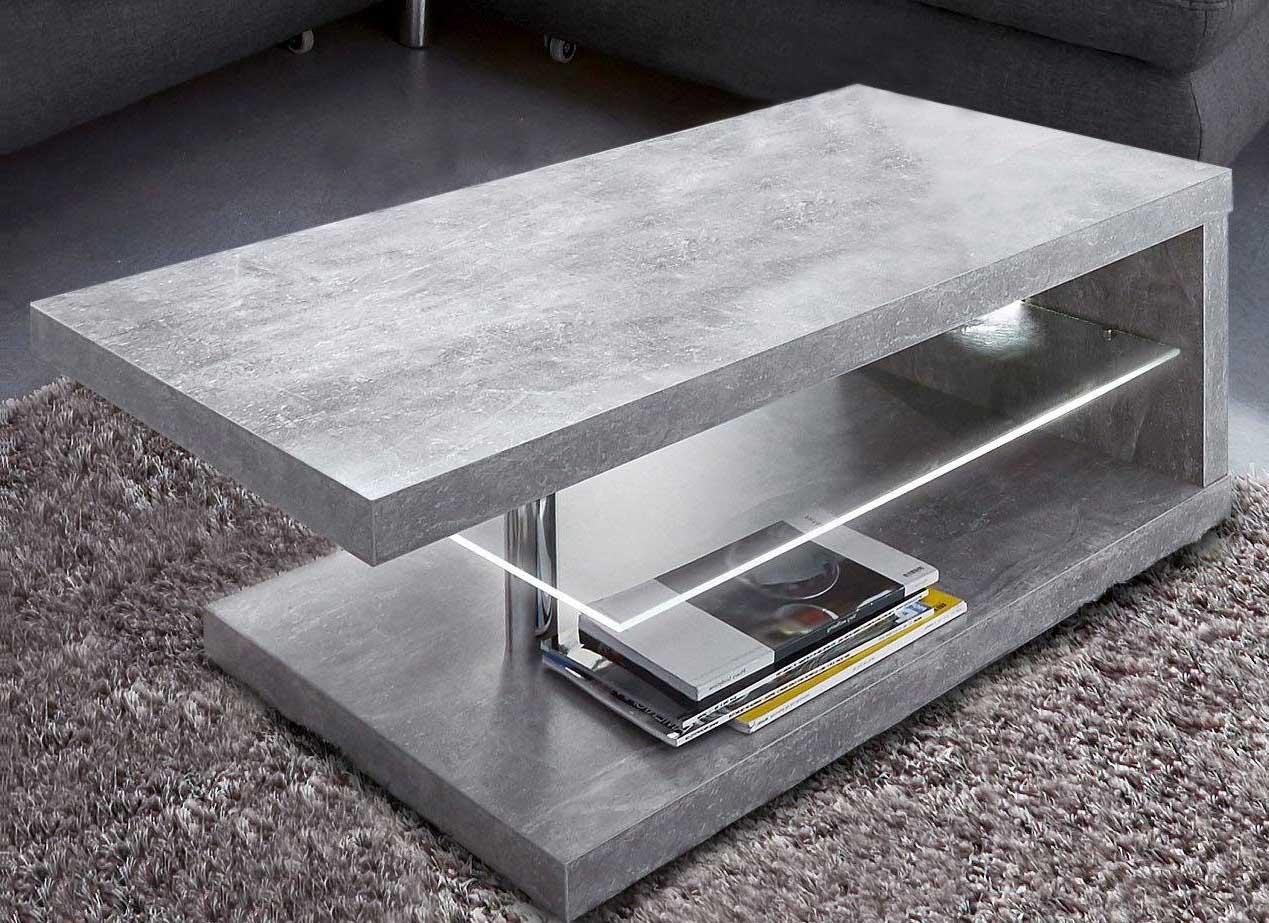 Couchtisch 107x67cm steinfarben Wohnzimmertisch mit LED Beleuchtung Tisch