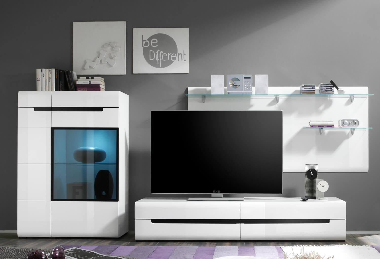 wohnwand anbauwand mediawand laminat wei wei hochglanz neu wohnw nde wohnzimmer. Black Bedroom Furniture Sets. Home Design Ideas