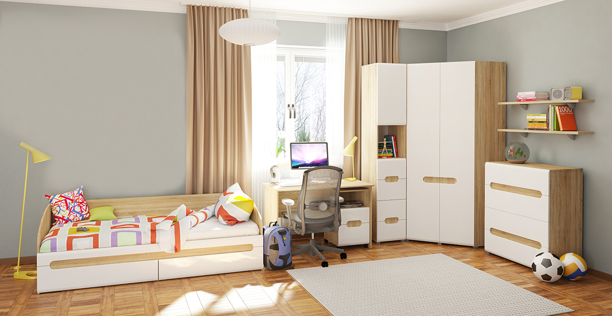 jugendzimmer kinderzimmer komplett 8 teilig sonoma eiche wei hochglanz neu feldmann wohnen. Black Bedroom Furniture Sets. Home Design Ideas