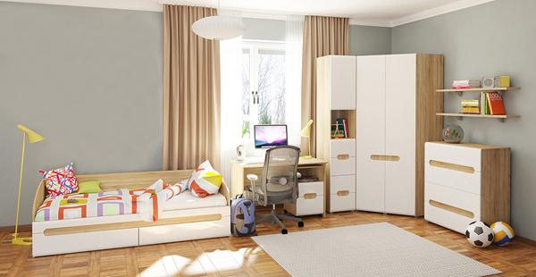 schreibtisch rollcontainer jugendzimmer sonoma eiche wei hochglanz neu feldmann wohnen gmbh. Black Bedroom Furniture Sets. Home Design Ideas